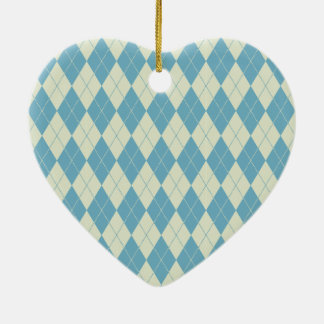 Argyle Pattern in Mint and Cream Heart Ornament
