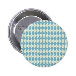 Argyle Pattern in Mint and Cream Pinback Button