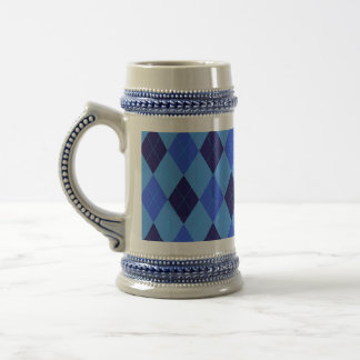 Argyle pattern in shades of blue beautiful beer stein