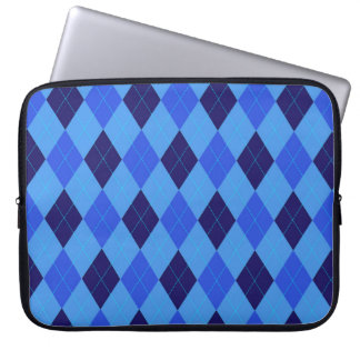 Argyle pattern in shades of blue beautiful laptop computer sleeve