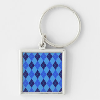 Argyle pattern in shades of blue keychain, gift Silver-Colored square keychain