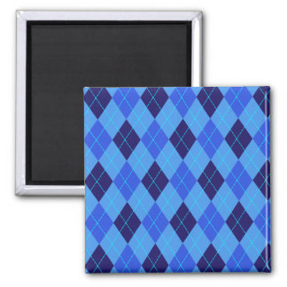 Argyle pattern in shades of blue magnet, gift idea 2 inch square magnet