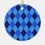 Argyle pattern in shades of blue ornament, gift Double-Sided ceramic round christmas ornament