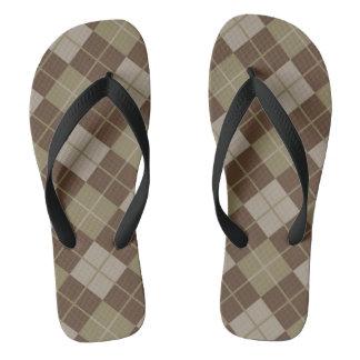 Argyle Pattern Flip Flops