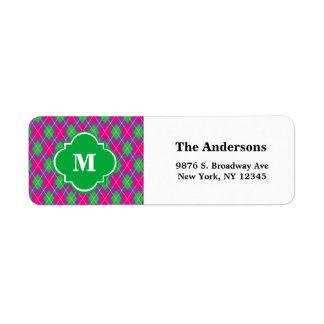 Argyle Pattern Monogram Wedding Address Label