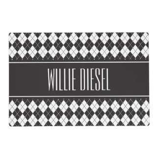 Argyle Pattern Personalized Pet Placemat