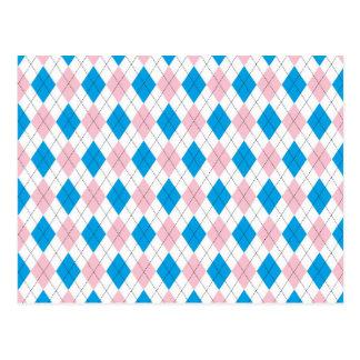 Argyle pattern postcard