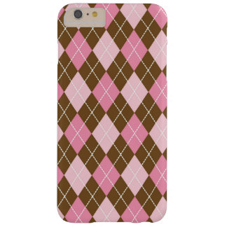 Argyle Pattern (Rhombus Pattern) - Pink Brown Barely There iPhone 6 Plus Case