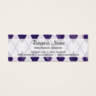 Argyle Pattern (Rhombus Pattern) - Purple White Mini Business Card