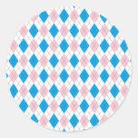 Argyle Pattern Round Stickers
