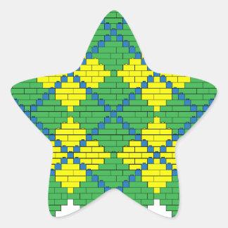 Argyle pattern with bricks (green, blue, yellow) star sticker