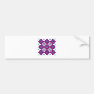 Argyle pattern with bricks (pink, purple & teal) bumper sticker