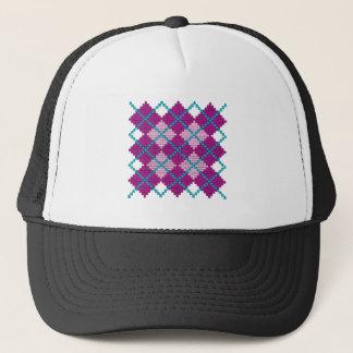 Argyle pattern with bricks (pink, purple & teal) trucker hat