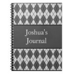 Argyle Patterned Notebook -Grey