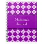 Argyle Patterned Notebook - Purple