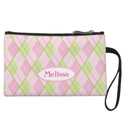 Argyle pink and green named clutch bag