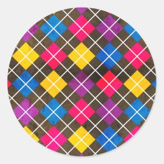 Argyle Pink Blue Yellow Purple Pattern Classic Round Sticker