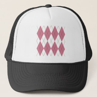 argyle pink brown trucker hat