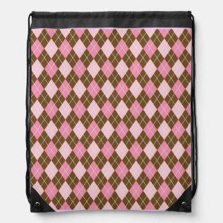 Argyle Pink Diamonds Peace Love Pattern Drawstring Bag