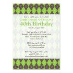 Argyle Plaid Brown Green Golf Golfing 0th Birthday Card
