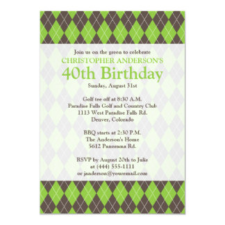 Argyle Plaid Brown Green Golf Golfing 0th Birthday Card