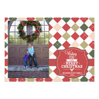 Argyle plaid Christmas holiday photo card