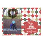 Argyle plaid Christmas holiday photo card Personalized Invitation