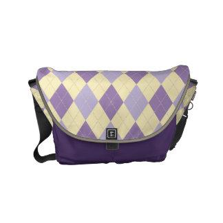 Argyle Purple, Lavendar, Cream Pattern Bag