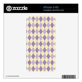 Argyle Purple, Lavendar, Cream Pattern Skin For The iPhone 4S