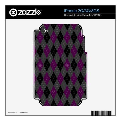 Argyle púrpura de lujo calcomanía para iPhone 3