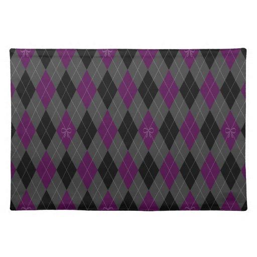 Argyle púrpura de lujo manteles