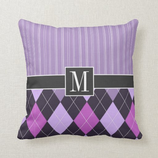 Argyle púrpura elegante cojín decorativo