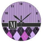 Argyle púrpura elegante reloj redondo grande
