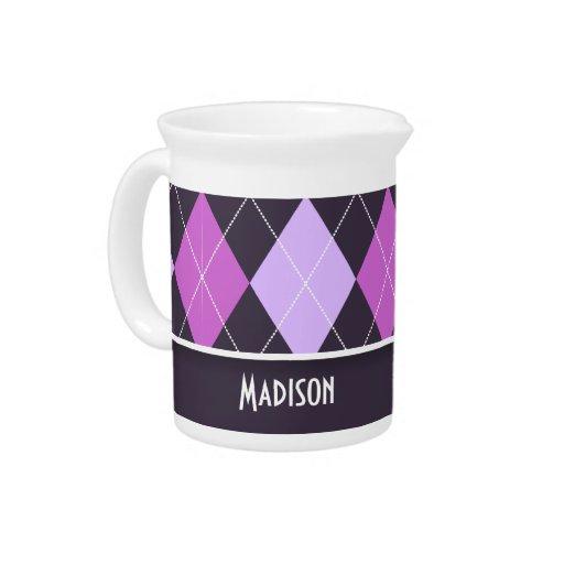 Argyle púrpura lindo jarras