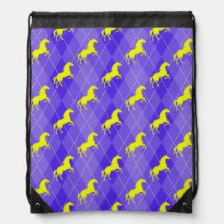 Argyle púrpura y amarillo, caballo, ecuestre mochilas