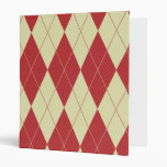 Argyle Red and Cream White Trendy Pattern Binders