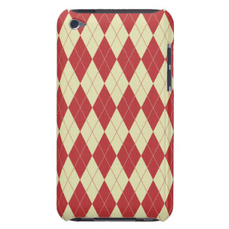 Argyle Red and Cream White Trendy Pattern Barely There iPod Covers