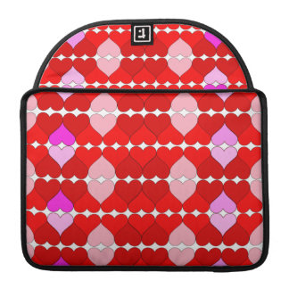 Argyle Red & Pink Hearts Pattern Sleeves For MacBook Pro