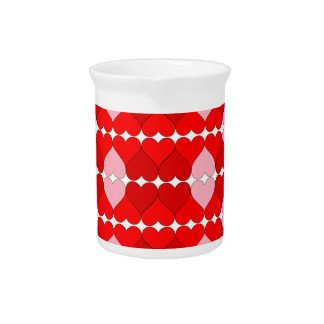 Argyle Red & Pink Hearts Pattern Pitchers