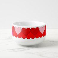 Argyle Red & Pink Hearts Pattern Soup Mug