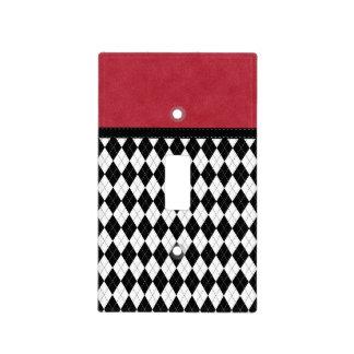 Argyle rojo blanco negro retro magnífico placa para interruptor