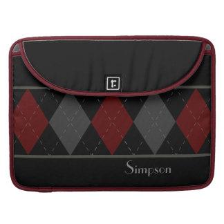 Argyle rojo oscuro y gris personalizado funda macbook pro