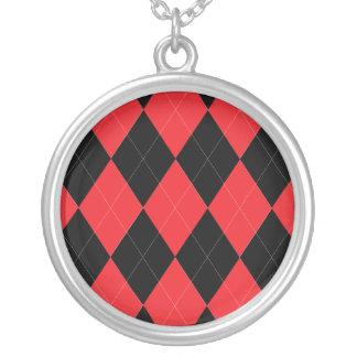 Argyle rojo y negro grimpola personalizada
