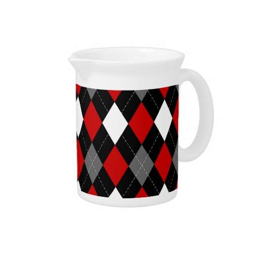 Argyle rojo y negro jarra