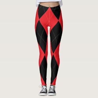Argyle rojo y negro leggings
