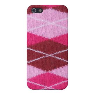 Argyle rosado acogedor iPhone 5 carcasa