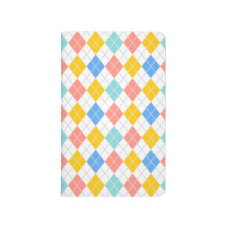 Argyle rosado azul claro, amarillo-naranja, corali cuaderno grapado