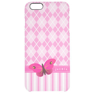 Argyle rosado bonito raya iPhone de la mariposa Funda Clear Para iPhone 6 Plus
