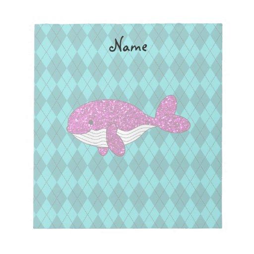 Argyle rosado conocido personalizado de la ballena bloc de papel