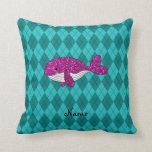 Argyle rosado conocido personalizado de la ballena almohadas
